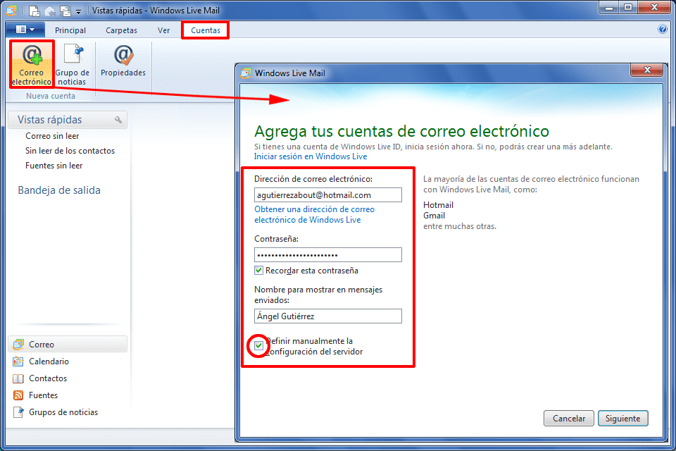 Utilizza l'email di Hotmail o Outlook in Windows Live Mail