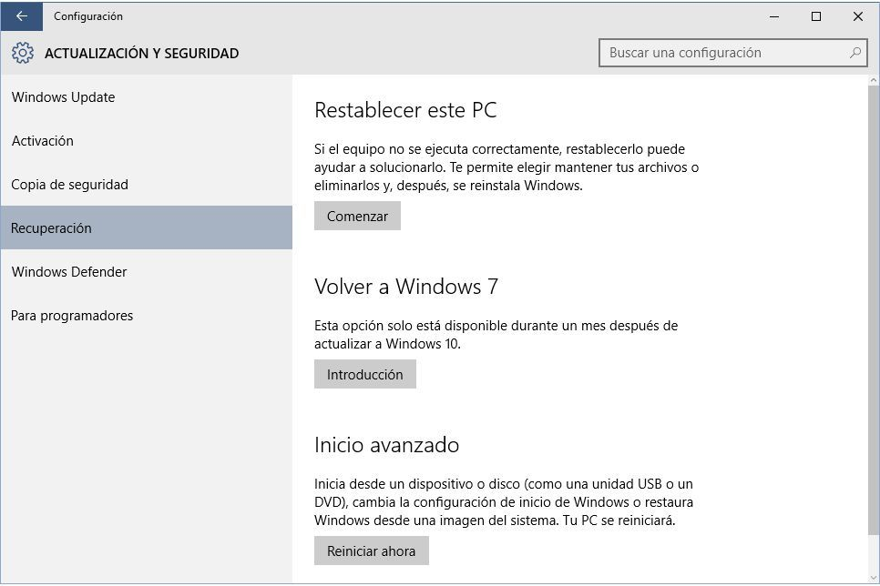 Torna a Windows 7, 8 o 8.1 da Windows 10